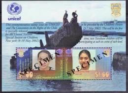Tuvalu 2002 UNICEF Rights Of The Child SPECIMEN Minisheet MNH - See Notes - Tuvalu