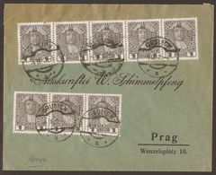AUSTRIA / CZECH. 1911, COVER WITH TEN 1h STAMPS ON FRONT & BACK. GRULICH TO PRAG. - 1850-1918 Empire