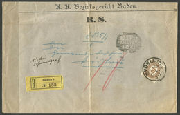 AUSTRIA. 1901. REGISTERED POSTAGE DUE COVER. BADEN DISTRICT COURT. CANCELLED IN VOSLAU. ARRIVAL ON REVERSE. - 1850-1918 Empire