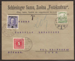 AUSTRIA / HUNGARY / SLOVAKIA. 1917. MIXED ISSUE POSTAGE DUES ON COVER FROM ZSOLNA. ADDRESSED TO KRAL VINOHRADY. - 1850-1918 Empire