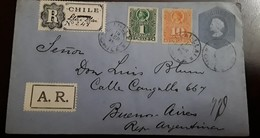 O) 1896 CHILE, LLAI LLAI H AND G B6a REGISTERED AR - TOWN NAME ADDED IN MANUSCRIPT ON REGISTRATION -AR LABEL APPLIED - Chile