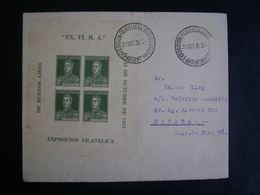 """ARGENTINA - LETTER SENT WITH BLOCK OF """"BUENOS AIRES PHILATELIC EXHIBITION"""" IN 1935 IN THE STATE - Argentina"""