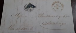 O) 1856 CHILE, BISECTED ADHESIVE COLON 5 10c, FROM VALPARAISO TO SANTIAGO- WITH FINE AND CLEAR IMPRESSION, TIED WITH C - Chile