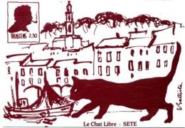 Brassens. Le Chat Libre. Dessin De E. Battista. (violet 2.30). - Künstlerkarten