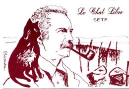 Brassens. Le Chat Libre. Dessin De E. Battista. (chat Sur L'epaule). - Künstlerkarten