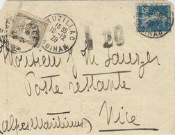 10 Déc. 1920 - DEVANT D'enveloppe Affr. 25 C Semeuse Avec Recouvrement 20 C  Utilisé Comme TAXE Pour Poste Restante - Postmark Collection (Covers)