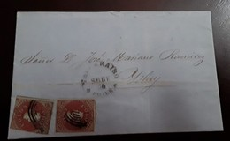 O) 1856 CHILE, COLON SC 8 5c Adhesives On Blued Paper, FROM VALPARAISO TO ISLAY BEARING, SCARCE - XF - Chile