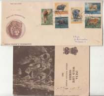India FDC + Info., 1963, Wild Life Preservation, Wildlife, Animal. Elephant, Lion, Tiger, Red Panda, Guar, - Big Cats (cats Of Prey)