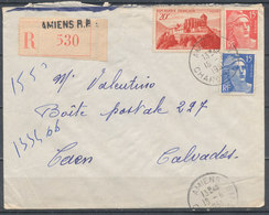 FRANCE - 18.6.1951, Reco Cover From AMIENS To CAEN (Calvados) - 1921-1960: Modern Period