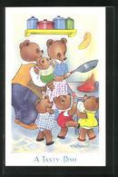 Künstler-AK Willy Schermele: Vermenschlichte Bärenfamilie Bestaunt Den Pfannkuchen In Der Pfanne - Schermele, Willy