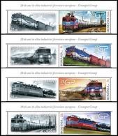 ROMANIA, 2019, RAILWAY INDUSTRY, Locomotives, Transport, Set Of 4 + Label, MNH (**); LPMP 2236 - 1948-.... Republics