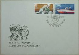 FDC 1970 Police Allemande (Moto, Bateau) - Deutsche Volkspolizei 25 Jahre - Police - Gendarmerie