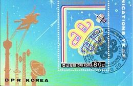 Korea 1983 Sheet World Communications Year Spazio Ed Astronomia Foglietto - Telecom