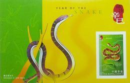 Feuillet De Timbres Hong Kong Chine Reptiles Serpents 2001 - Serpents