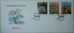 FDC Republica Du Zaïre Reptiles, Lézard, Serpents Cobra, Caméléon 1986 - Serpents