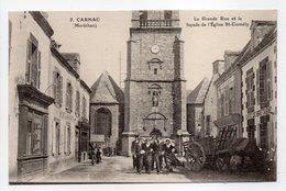 - CPA CARNAC (56) - La Grande Rue Et La Façade De L'Église St-Cornély (avec Personnages) - Edition NOZAIS N° 2 - - Carnac