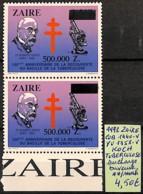 [826850]TB//**/Mnh-Zaïre 1992 - N° 1440-COBVAR/1358-YVVAR, Variétés, KOCH, Tuberculose, Surcharge Baveuse, Santé, Maladi - Zaïre