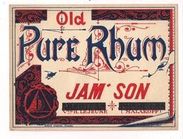 Etiquette Old Pure Rhum - Jam' Son - Vve H.Lejeune, Malakoff - Imprimeur Engraver Roberts, Kingston - - Rum