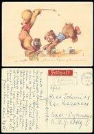 14441 DR Feldpost Teddy Bären Angeln Karte Frankfurt - Bad Pyrmont 1941 , Bedarfserhaltung. - Germany