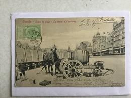 OOSTENDE 1907  OSTENDE  - SCENE DE PLAGE - LE CHEVAL A L' ABREUVOIR     PRACHTIGE ANIMATIE / ANIMATION SPLENDIDE - Oostende