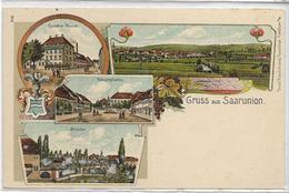 67 SAARUNION . Bonjour En 4 Lithographies , Quatre-Vents , Pont , édit : Drück-Kunst , écrite En 1919 , état SUP - Sarre-Union