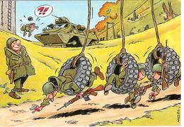 Cpsm Soldats à L'exercice Par Mazel , Vierge - Humor