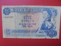 MAURITIUS 5 RUPEES 1967 SIGNATURE N°3 CIRCULER (B.5) - Maurice