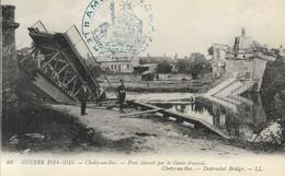CARTE POSTALE ORIGINALE ANCIENNE : CHOISY AU BAC PONT DETRUIT PAR LE GENIE FRANCAIS GUERRE DE 1914/1918 ANIMEE OISE (60) - France
