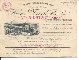 10 - Vendeuvre - Carte Commerciale - Art Chrétien Henri Nicot - France