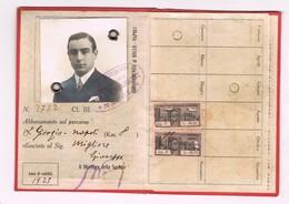 Tessera Abbonamento Strade Ferrate Meridionali 1925  S. Giorgio Napoli  Completa Di Foto Bollini Timbri - Wochen- U. Monatsausweise