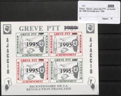 [409721]TB//**/Mnh-Ajaccio 1995 - Grève Des PTT, Le Feuillet De 1989 Surchargé Pour 1995, Trains, Transports - Treni