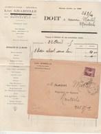 Yvert 139 Semeuse Lettre Avec Facture Entête GRABIELLE MONTAUBAN Tarn Et Garonne 24/4/1925 à Montech - Frankreich