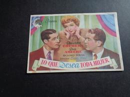 Artiste ( 287 )  Acteur - Affichette Espagnol Cinéma  Ciné Espagne  Espana  ( Blanco Au Verso ) : Claudette Colbert - Publicidad