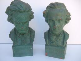 Sculptures: Buste De Beethoven Et De Chopin En Terre Cuite. ( Signé H . ONESTO ) - Autres