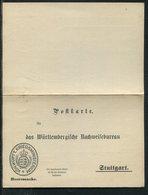 "Wuerttemberg / Postkarte Mit Antwortteil ""Koen.Wuertt.Kriegsministerium"", Heeressache ** (22104) - Wuerttemberg"