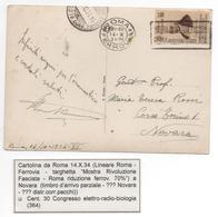 1934 - Da Roma A Novara - Sassone 364 Congr. Elettro-radio-biologia Su Cartolina - Marcophilia