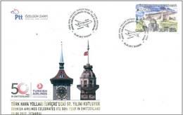 AC - TURKEY FDC - TURKISH AIRLINES CELEBRATES ITS 50th YEARIN SWITZERLAND Istanbul, 03 SEPTEMBER2017 - 1921-... República