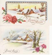 2 Mignonnettes, Gougeon,  Fleurs , Paysage , Neige, Bonne  Année - Neujahr