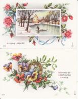 2 Mignonnettes, Gougeon,  Fleurs , Paysage, Bonne  Année - Neujahr