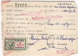 CAMB 2 - CAMBODGE Reçu Fiscal De 1967 - Collections