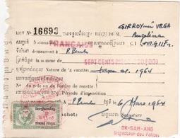 CAMB 3 - CAMBODGE Reçu Fiscal De 1964 - Collections