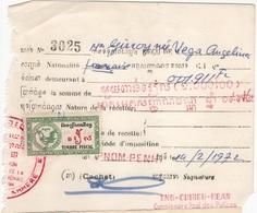 CAMB 4 - CAMBODGE Reçu Fiscal De 1972 - Colecciones