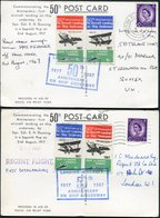 1967 Sopwith Pup HMS Furious 1917 Ship To Shore Airmail Letter Stamp Postcards X 2 (+1/2!). Hermes Hong Kong, Fleet Mail - 1952-.... (Elizabeth II)