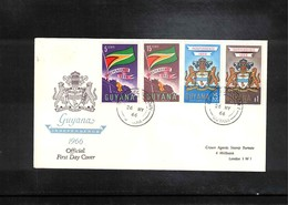 Guyana 1966 Independence - Coat Of Arms+ Flag Of Guyana FDC - Briefe U. Dokumente