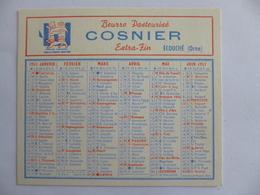 Ecouché.  Petit Calendrier Publicitaire: Beurre Pasteurisé COSNIER  1957 - Ecouche
