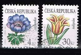Tschechien 2010, Michel# 650 - 651 O Flowers: Anemone/ Tulip - Czech Republic