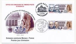 FRANCE / MONACO - Emission Commune Centenaire De L'Institut De Paléontologie Humaine 01/06/2010 - FDC