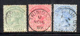 APR199 - TRINIDAD TOBAGO 1883 , Vittoria Tre Valori Usati  (2380A) . - Trindad & Tobago (1962-...)