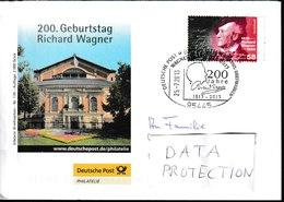 N 250) Sonderumschlag Deutsche Post - SSt Bayreuth 2013 - 200. Geburtstag Richard Wagner - Musik