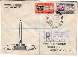 N 254) Südafrika 1954 Mi# 237-38 FDC R-Brief Bloemfontein: Gründung Oranje; Horn - Musik